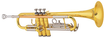 Conn International Bb student model. Rose brass leadpipe, stainless alloy valves, yellow brass bell, middle piston bracing, first slide thumb saddle, 3rd slide stop, nickel silver outer slides, woodshell case.