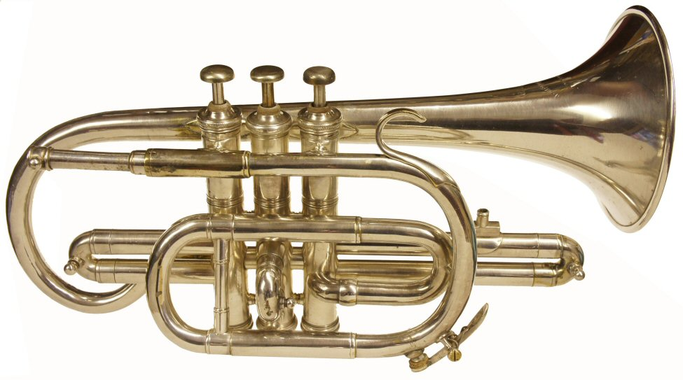 Tompkins Cornet. C1914. No serial number. Engraved on bell Class A, Tompkins & son, Northampton. Restored to reasonable playing order. Instrument only. Price £350.00